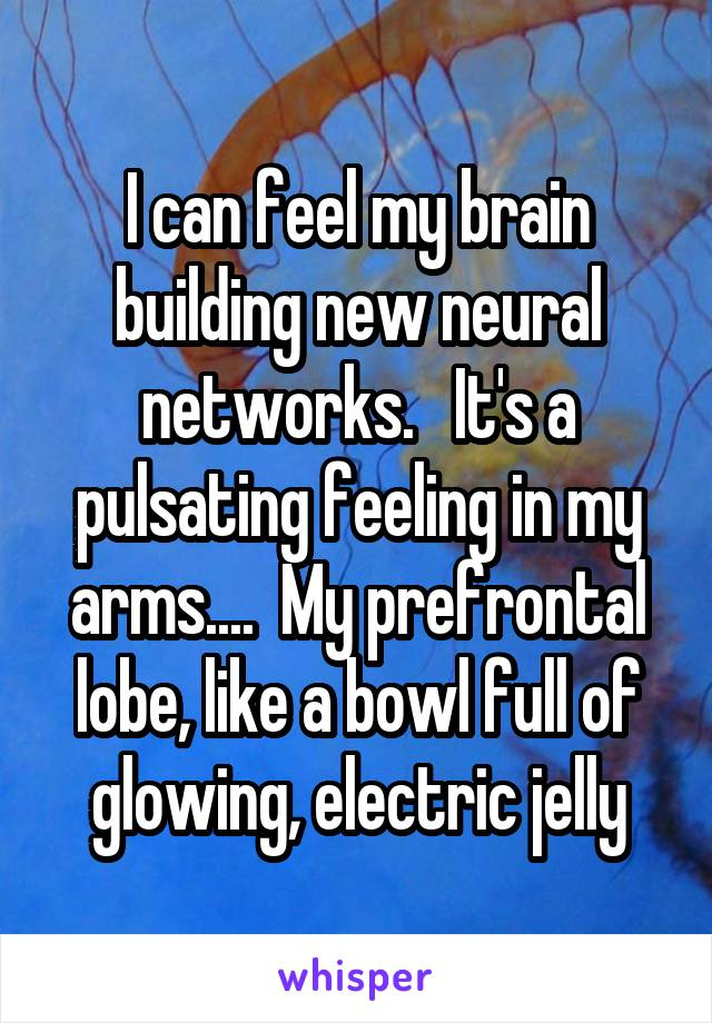 I can feel my brain building new neural networks.   It's a pulsating feeling in my arms....  My prefrontal lobe, like a bowl full of glowing, electric jelly