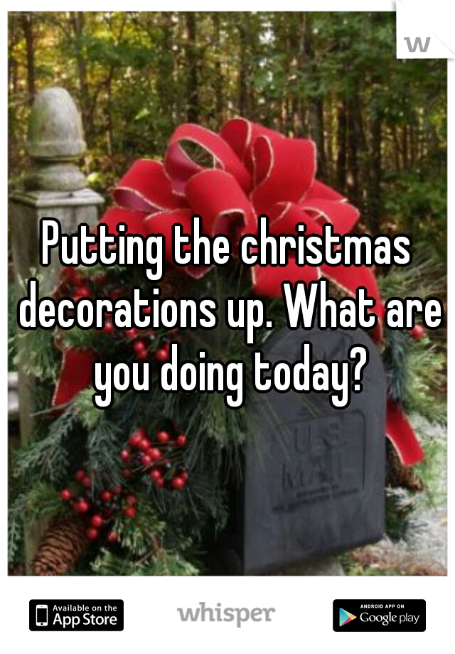 Putting the christmas decorations up. What are you doing today?
