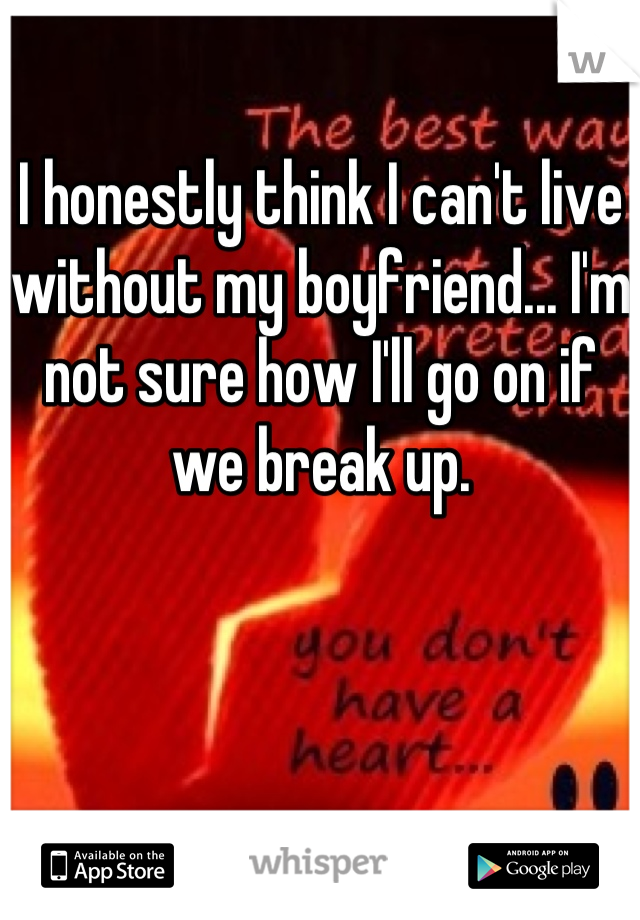 I honestly think I can't live without my boyfriend... I'm not sure how I'll go on if we break up.