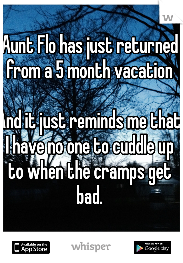 Aunt Flo has just returned from a 5 month vacation   And it just reminds me that I have no one to cuddle up to when the cramps get bad.