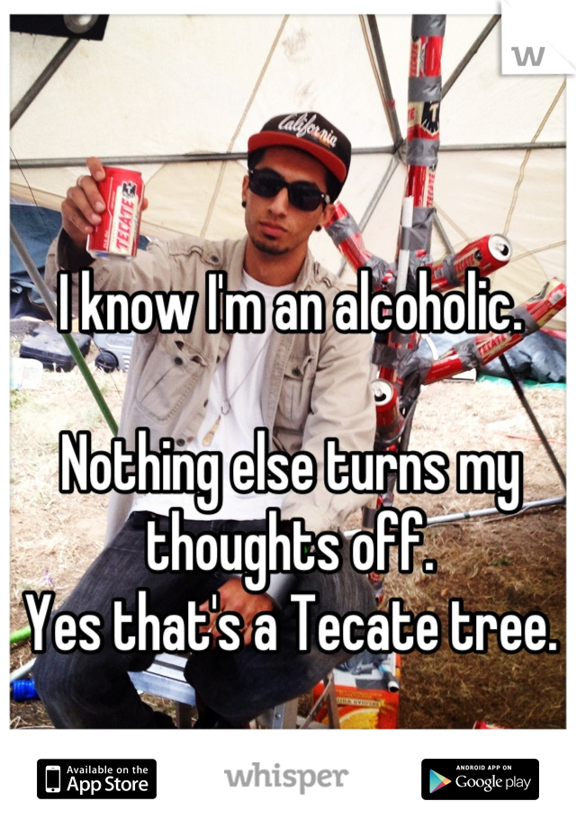 I know I'm an alcoholic.  Nothing else turns my thoughts off. Yes that's a Tecate tree.