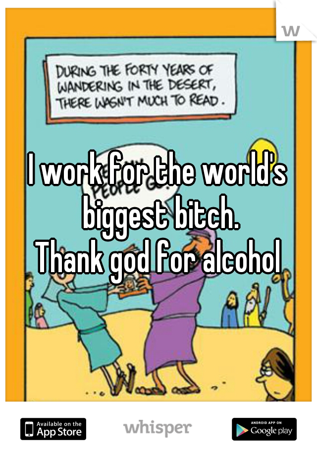 I work for the world's biggest bitch. Thank god for alcohol