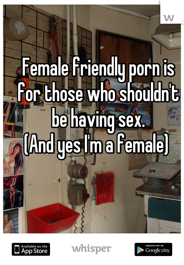 Female friendly porn is for those who shouldn't be having sex.  (And yes I'm a female)