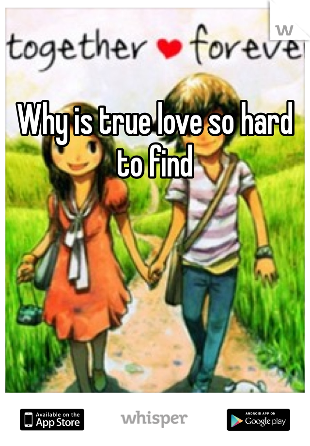 Why is true love so hard to find