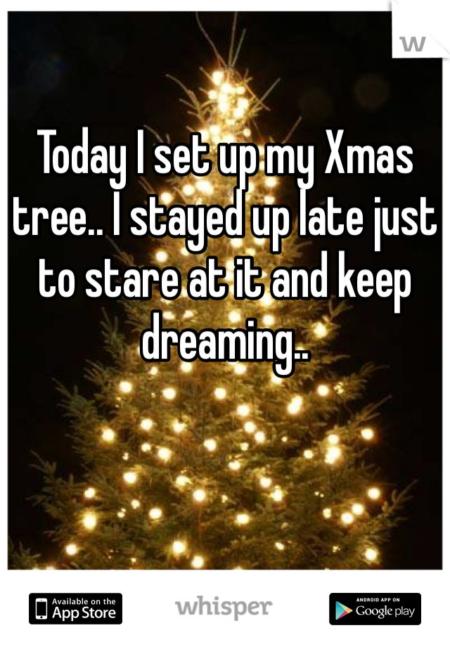 Today I set up my Xmas tree.. I stayed up late just to stare at it and keep dreaming..