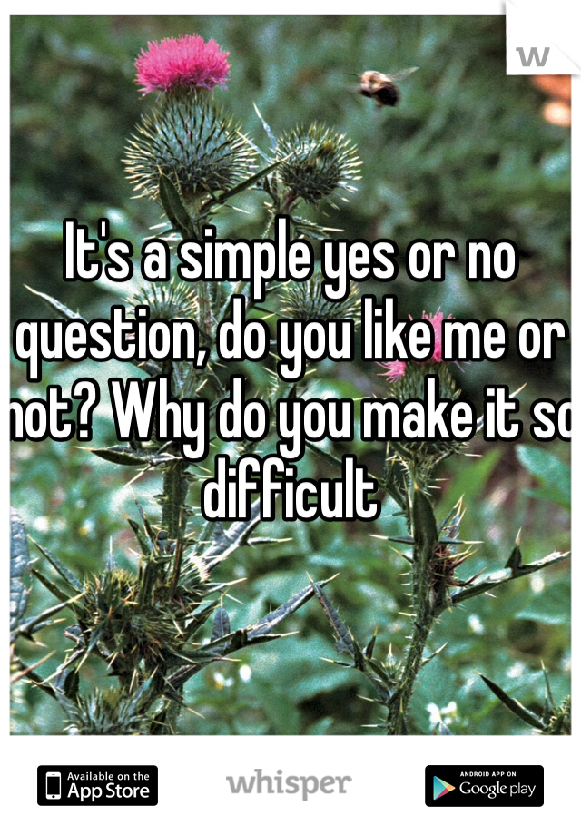 It's a simple yes or no question, do you like me or not? Why do you make it so difficult
