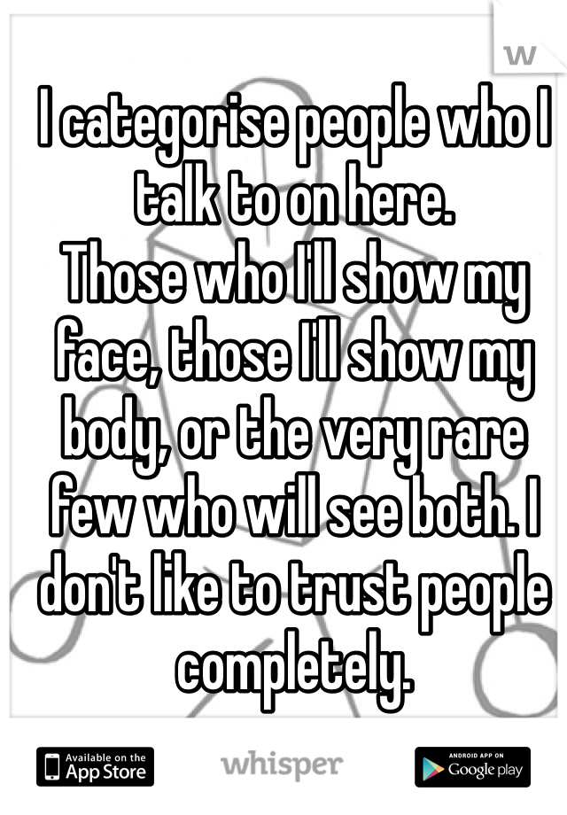 I categorise people who I talk to on here. Those who I'll show my face, those I'll show my body, or the very rare few who will see both. I don't like to trust people completely.