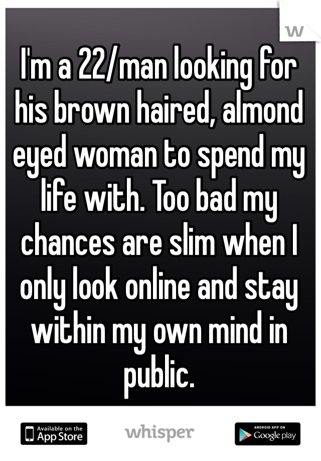 I'm a 22/man looking for his brown haired, almond eyed woman to spend my life with. Too bad my chances are slim when I only look online and stay within my own mind in public.