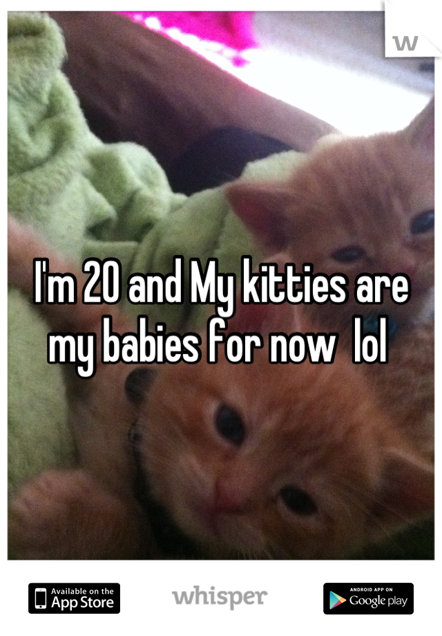 I'm 20 and My kitties are my babies for now  lol