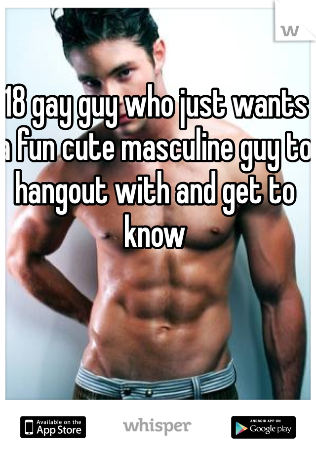 18 gay guy who just wants a fun cute masculine guy to hangout with and get to know