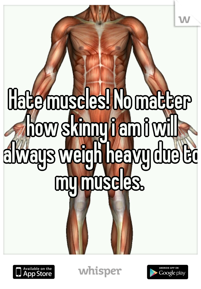 Hate muscles! No matter how skinny i am i will always weigh heavy due to my muscles.