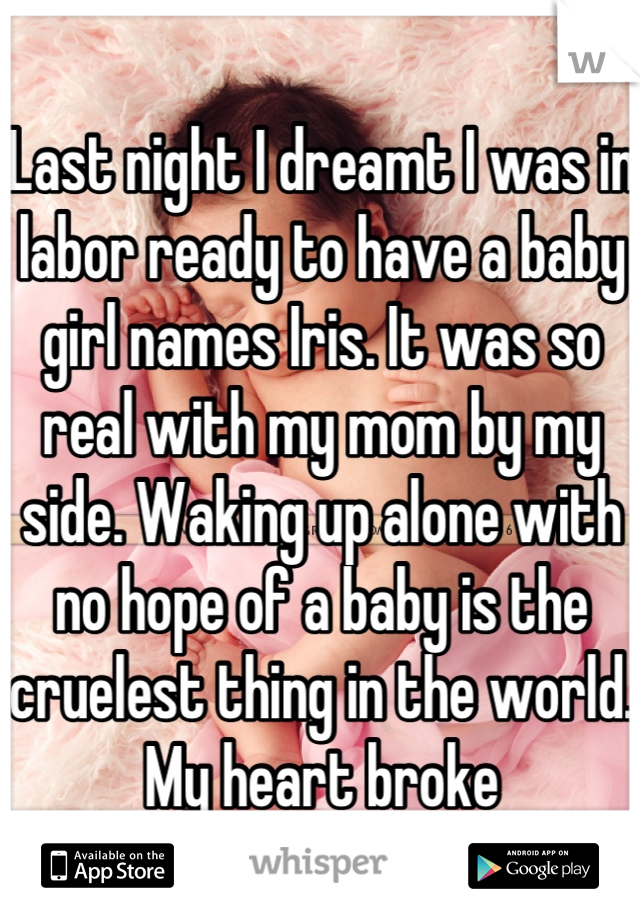 Last night I dreamt I was in labor ready to have a baby girl names Iris. It was so real with my mom by my side. Waking up alone with no hope of a baby is the cruelest thing in the world. My heart broke