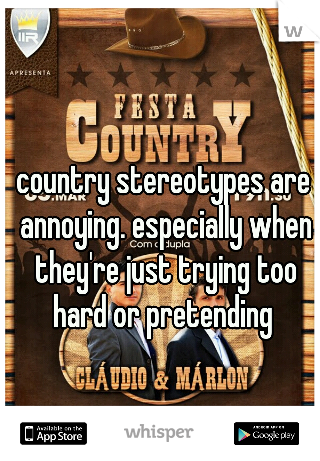 country stereotypes are annoying. especially when they're just trying too hard or pretending