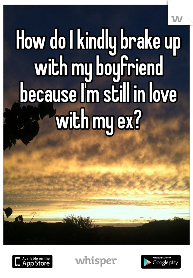 How do I kindly brake up with my boyfriend because I'm still in love with my ex?