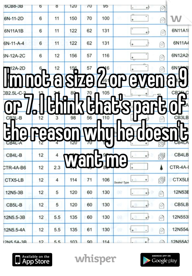 I'm not a size 2 or even a 9 or 7. I think that's part of the reason why he doesn't want me