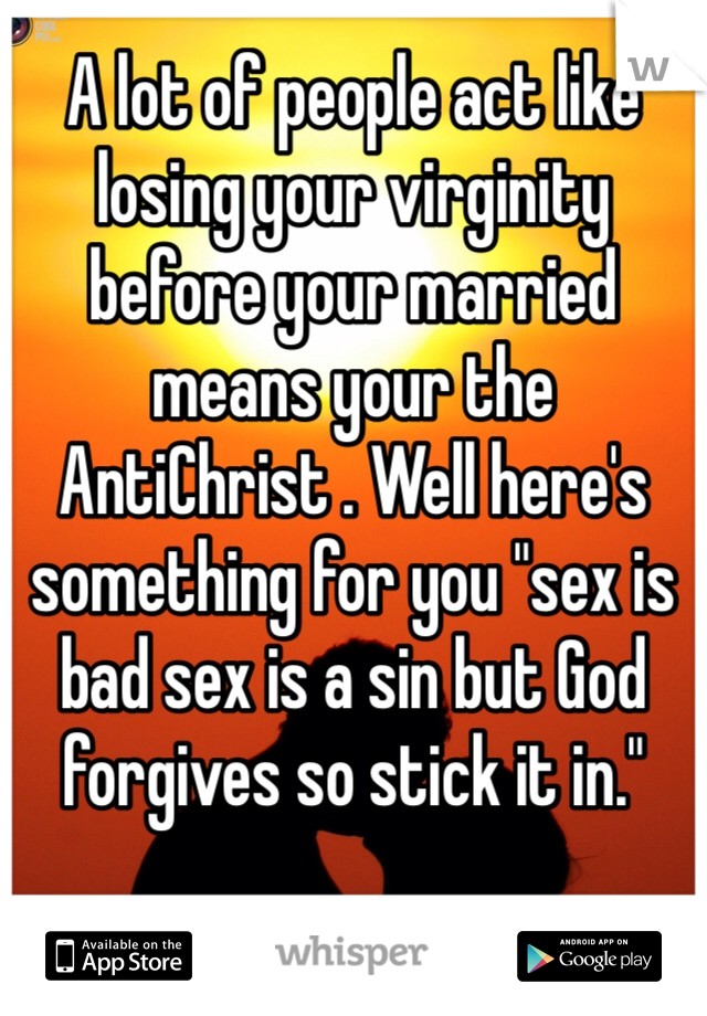 "A lot of people act like losing your virginity before your married means your the AntiChrist . Well here's something for you ""sex is bad sex is a sin but God forgives so stick it in."""