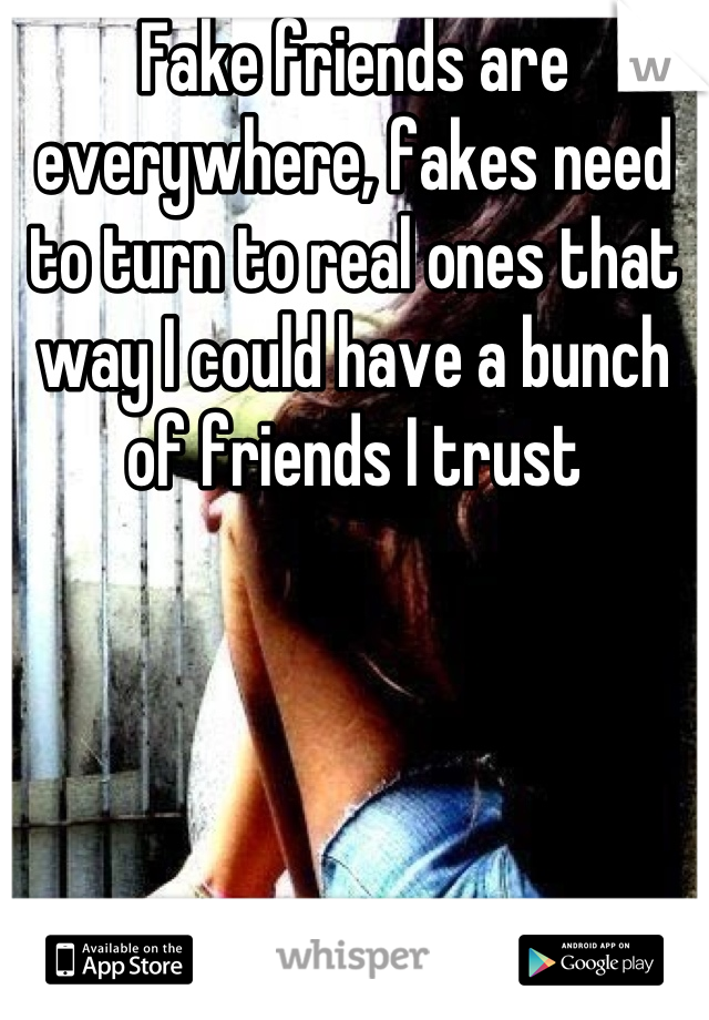 Fake friends are everywhere, fakes need to turn to real ones that way I could have a bunch of friends I trust