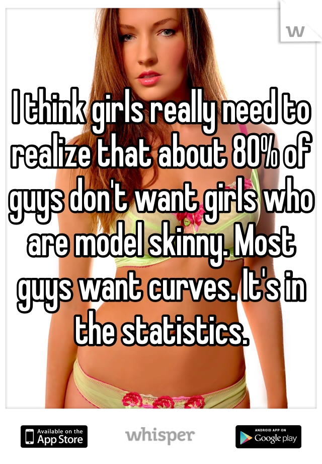 I think girls really need to realize that about 80% of guys don't want girls who are model skinny. Most guys want curves. It's in the statistics.