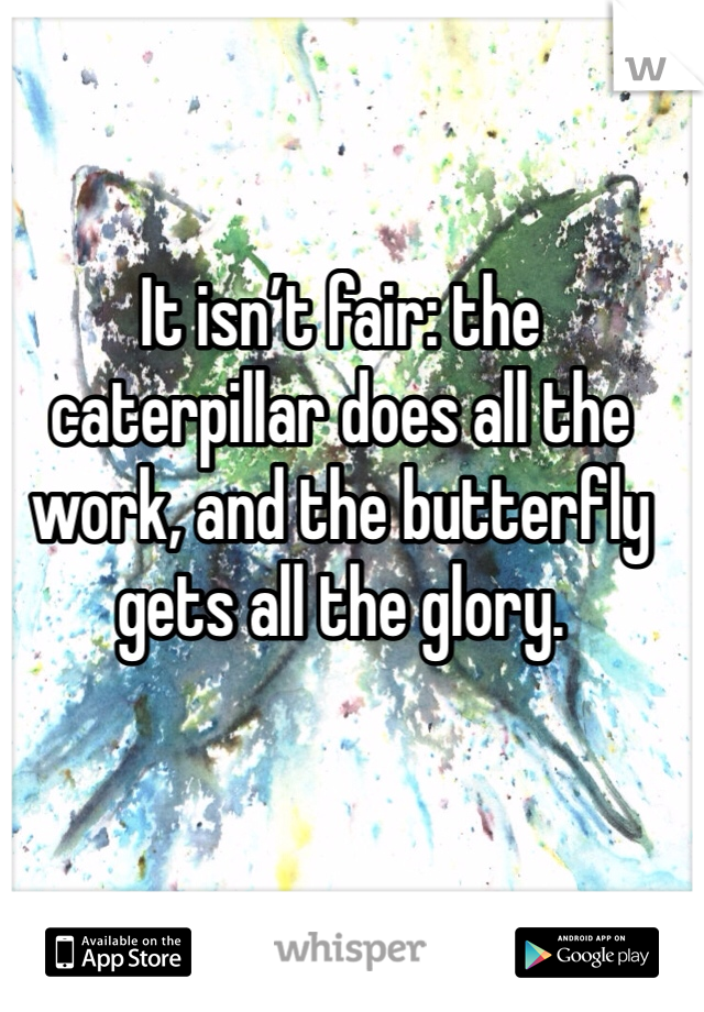 It isn't fair: the caterpillar does all the work, and the butterfly gets all the glory.