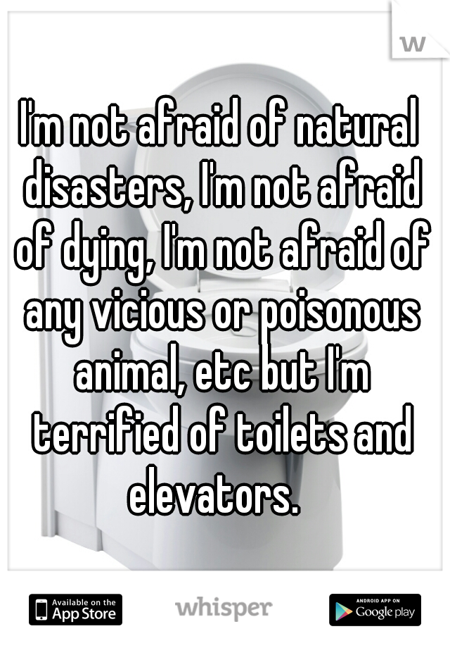 I'm not afraid of natural disasters, I'm not afraid of dying, I'm not afraid of any vicious or poisonous animal, etc but I'm terrified of toilets and elevators.