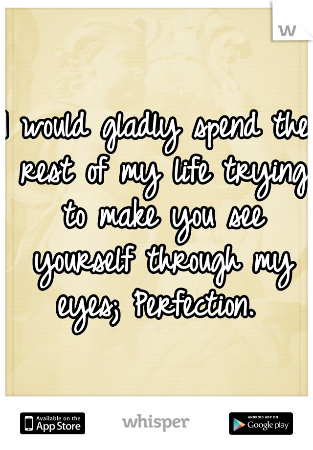 I would gladly spend the rest of my life trying to make you see yourself through my eyes; Perfection.
