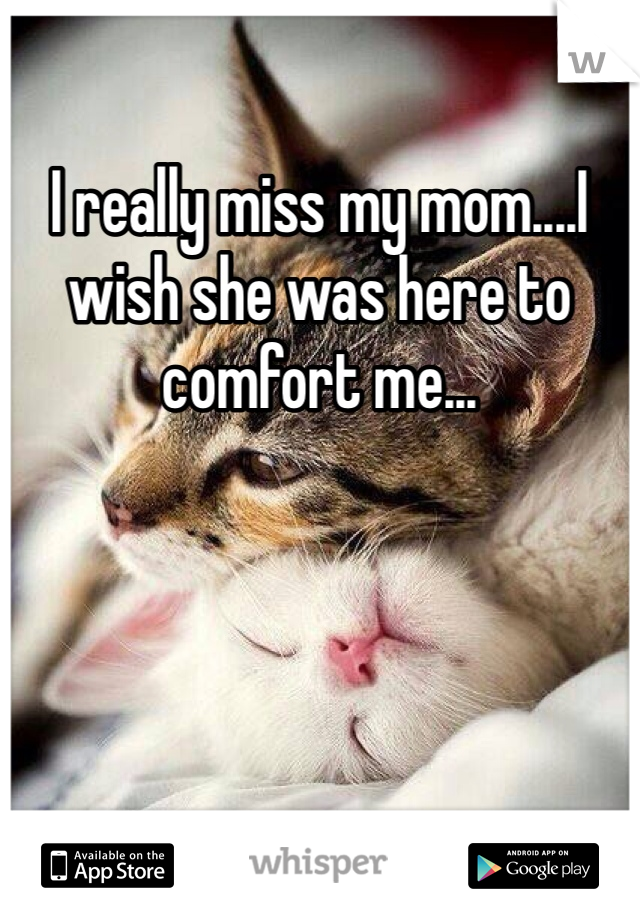 I really miss my mom....I wish she was here to comfort me...
