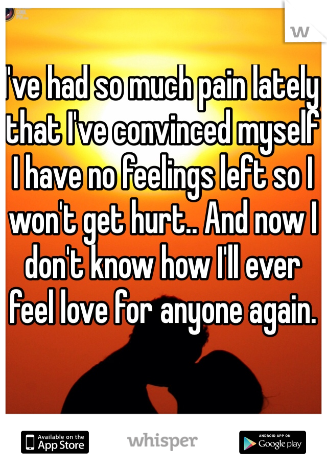 I've had so much pain lately that I've convinced myself I have no feelings left so I won't get hurt.. And now I don't know how I'll ever feel love for anyone again.