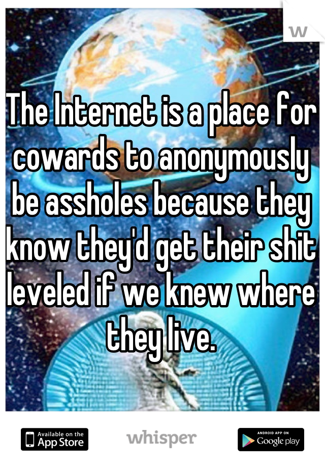 The Internet is a place for cowards to anonymously be assholes because they know they'd get their shit leveled if we knew where they live.