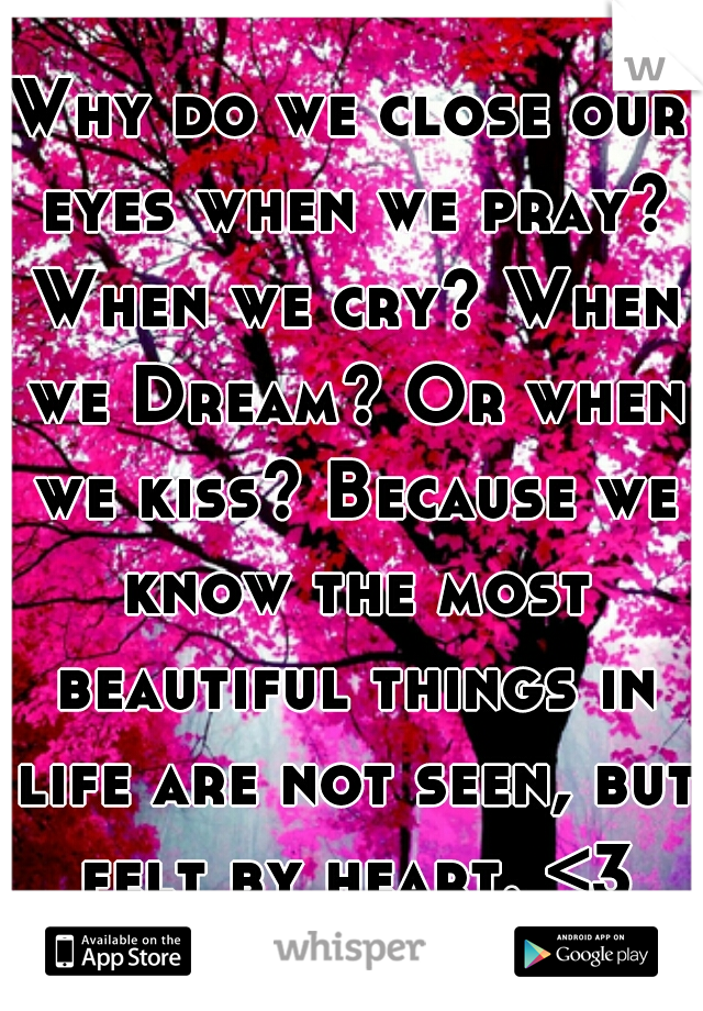 Why do we close our eyes when we pray? When we cry? When we Dream? Or when we kiss? Because we know the most beautiful things in life are not seen, but felt by heart. <3