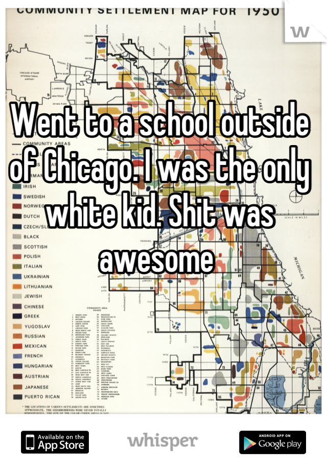 Went to a school outside of Chicago. I was the only white kid. Shit was awesome