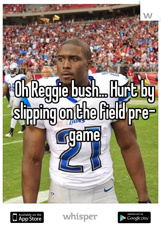 Oh Reggie bush... Hurt by slipping on the field pre-game