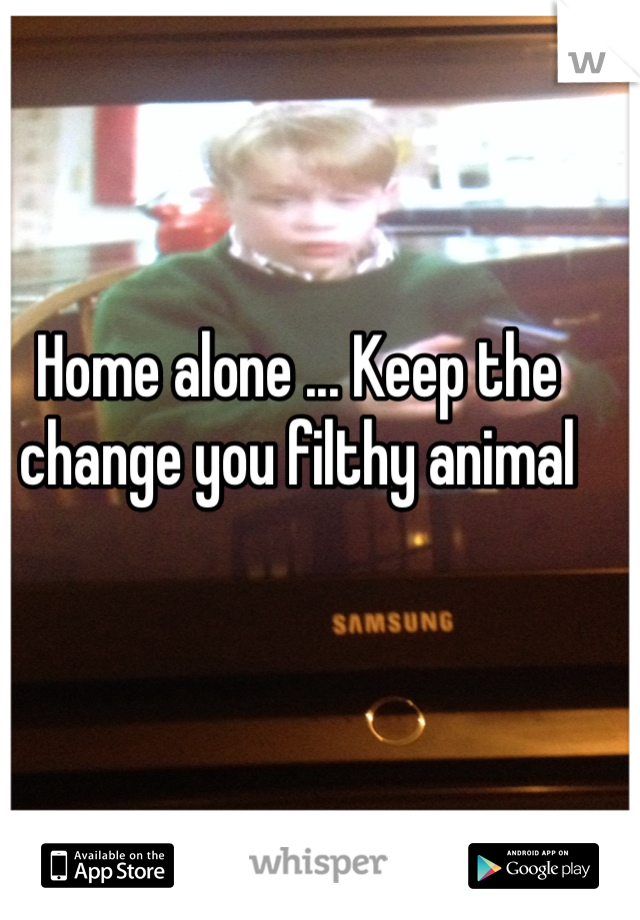 Home alone ... Keep the change you filthy animal