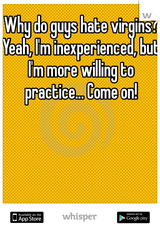 Why do guys hate virgins? Yeah, I'm inexperienced, but I'm more willing to practice... Come on!