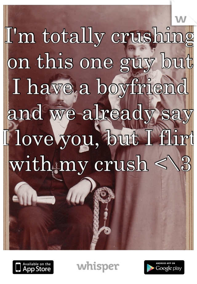 I'm totally crushing on this one guy but I have a boyfriend and we already say I love you, but I flirt with my crush <\3