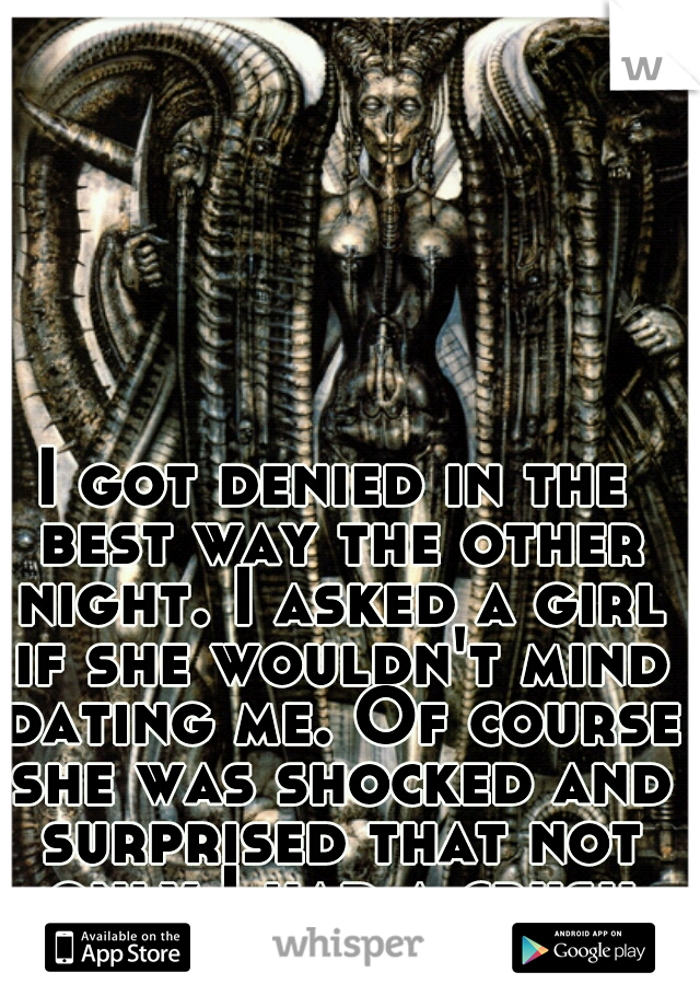I got denied in the best way the other night. I asked a girl if she wouldn't mind dating me. Of course she was shocked and surprised that not only I had a crush but it was her.