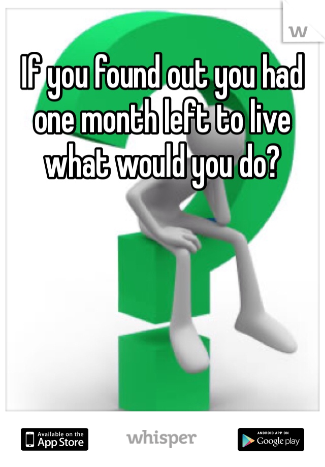 If you found out you had one month left to live what would you do?