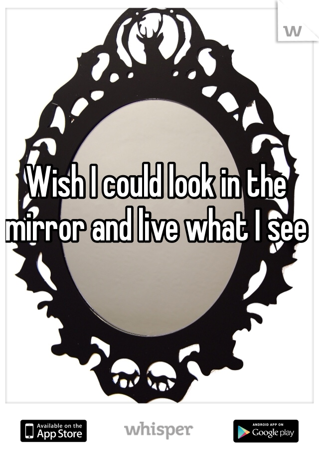 Wish I could look in the mirror and live what I see