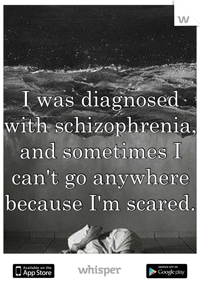 I was diagnosed with schizophrenia, and sometimes I can't go anywhere because I'm scared.