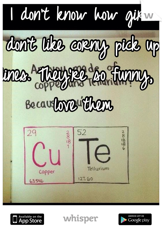 I don't know how girls don't like corny pick up lines. They're so funny, I love them