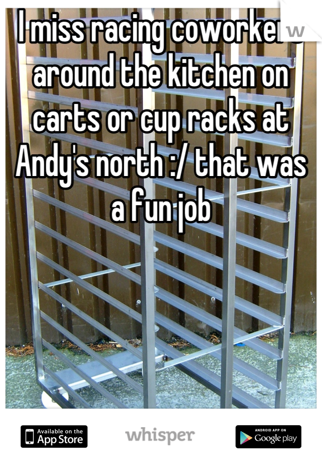 I miss racing coworkers around the kitchen on carts or cup racks at Andy's north :/ that was a fun job