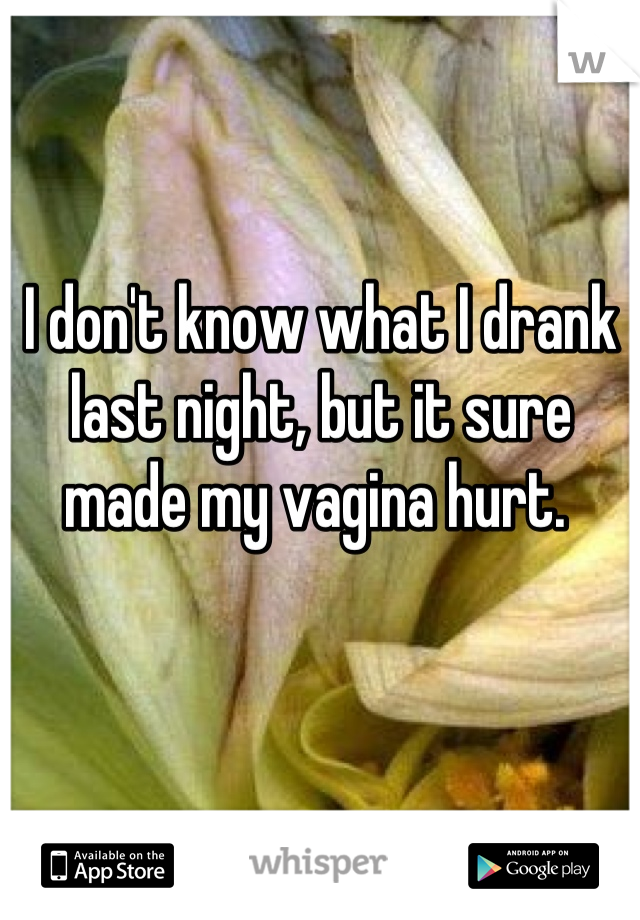 I don't know what I drank last night, but it sure made my vagina hurt.