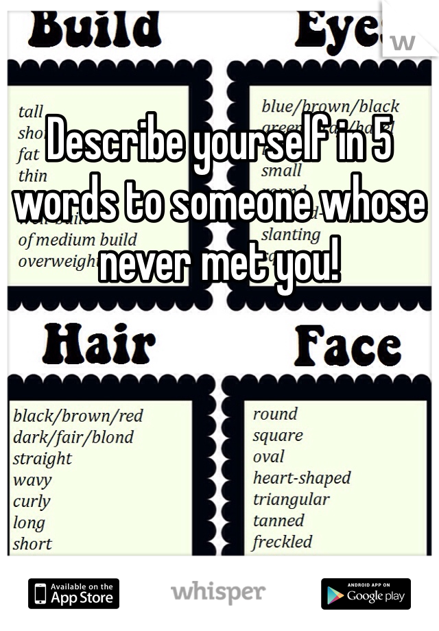 Describe yourself in 5 words to someone whose never met you!