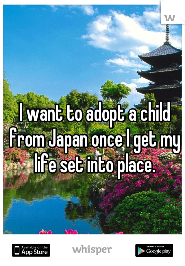 I want to adopt a child from Japan once I get my life set into place.