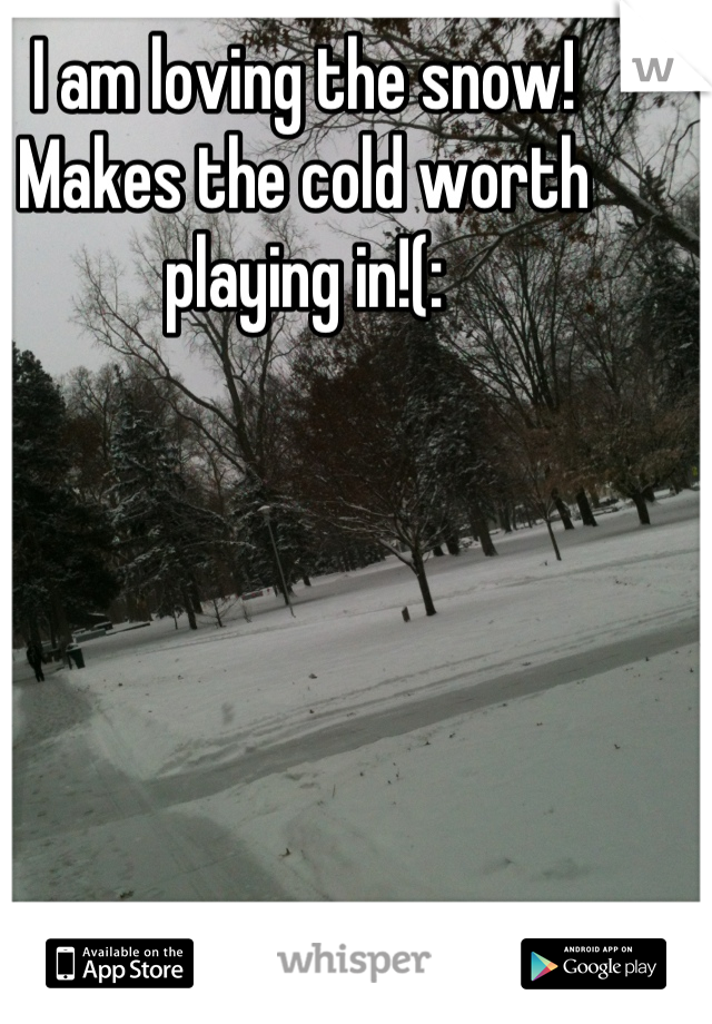 I am loving the snow!  Makes the cold worth playing in!(: