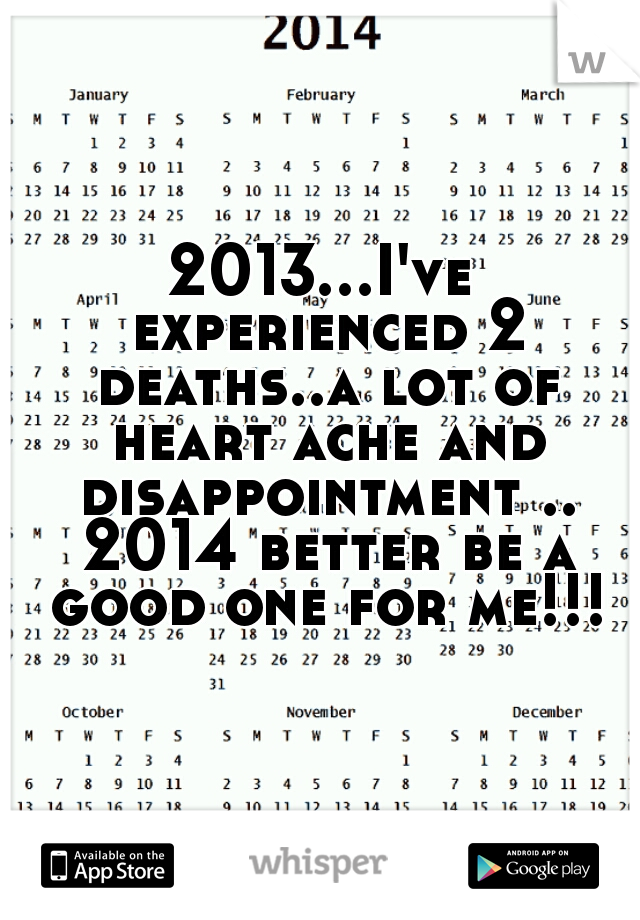 2013...I've experienced 2 deaths..a lot of heart ache and disappointment .. 2014 better be a good one for me!!!