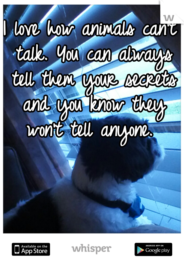 I love how animals can't talk. You can always tell them your secrets and you know they won't tell anyone.