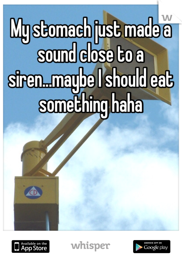 My stomach just made a sound close to a siren...maybe I should eat something haha