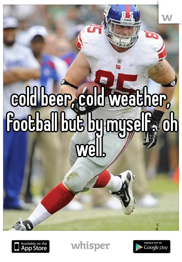 cold beer, cold weather, football but by myself.  oh well.