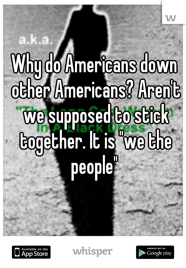 "Why do Americans down other Americans? Aren't we supposed to stick together. It is ""we the people"""