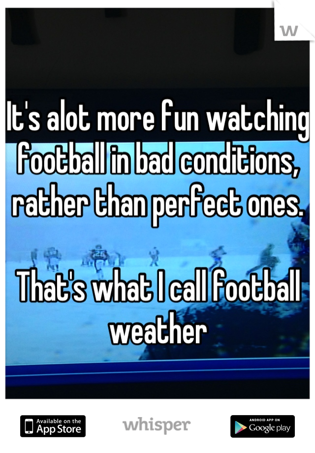 It's alot more fun watching football in bad conditions, rather than perfect ones.   That's what I call football weather